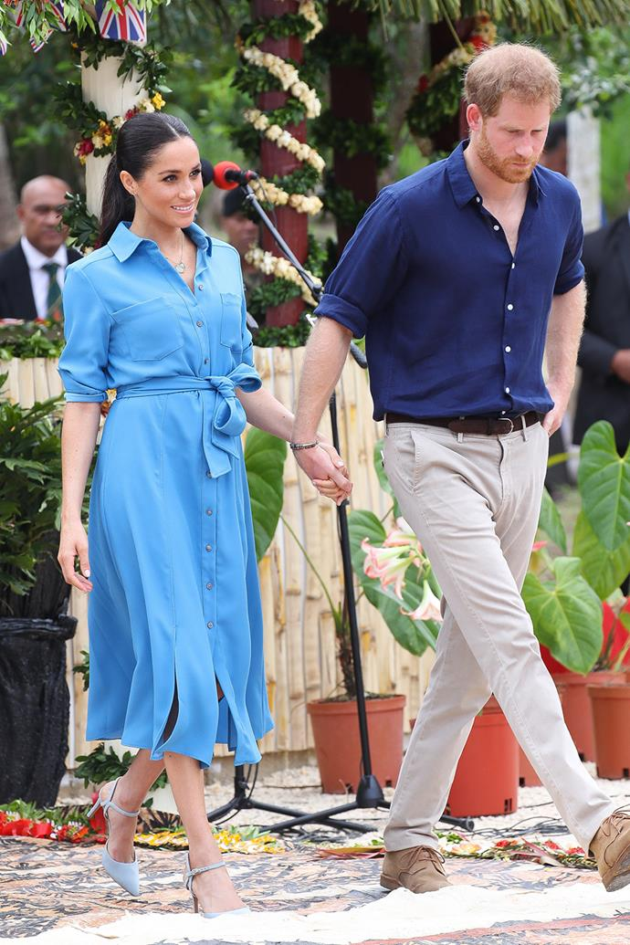 Of course, Duchess Meghan is also a champion of casual chic, as this soft blue Veronica Beard shirtdress proves. She donned this outfit while at Tupou College in Tonga in October 2018 and we still can't get over how good it looks. The Duchess even wore the dress again for her Africa tour.