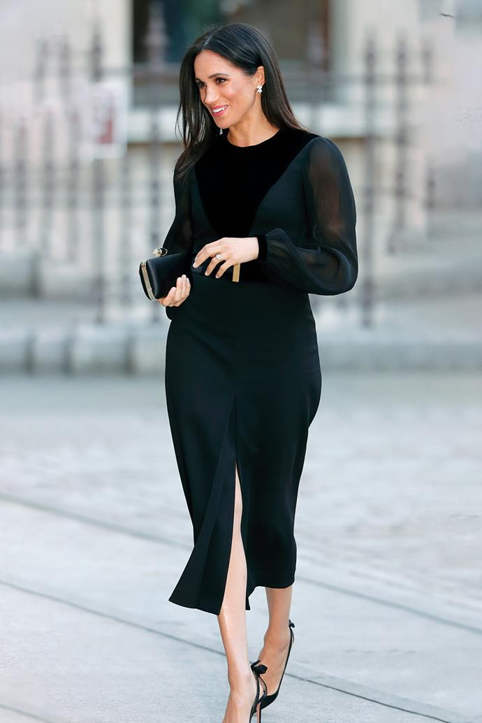 When Duchess Meghan stepped out in this black Givenchy gown at the Royal Academy of Arts on September 25, 2018, the world went wild with pregnancy rumours. The Duchess announced she was pregnant the following month, but we still can't get over how elegant she looks in this $4,720 midi style with a cheeky slit up the front.