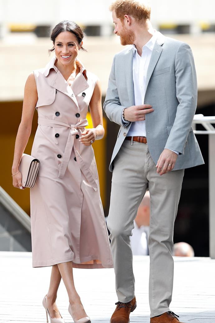 Duchess Meghan isn't afraid of mixing it up, opting for this $1,170 coat-style NONIE Trench Dress during her and Prince Harry's visit to The Nelson Mandela Centenary Exhibition in London in July 2018. She's even recycled this dress, wearing it again during her and Harry's 2019 Africa tour. We don't blame her, it's a perfect neutral base for any outfit.