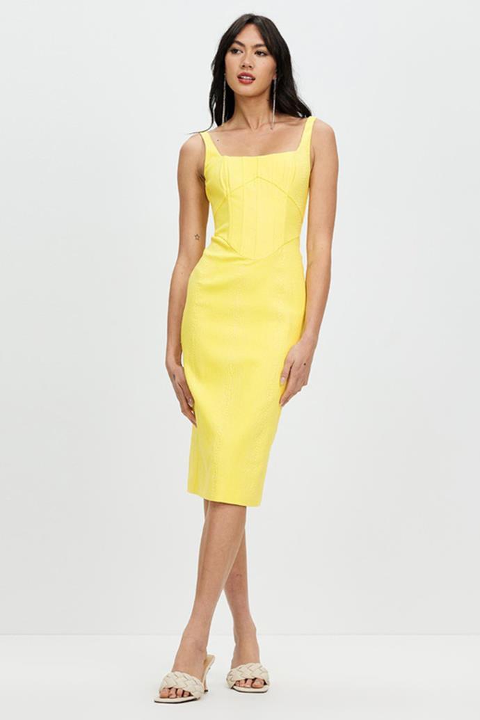 "Derma Natalia Midi Dress $280 - [shop it here.](https://fave.co/3AAuWN5 target=""_blank"" rel=""nofollow"")"
