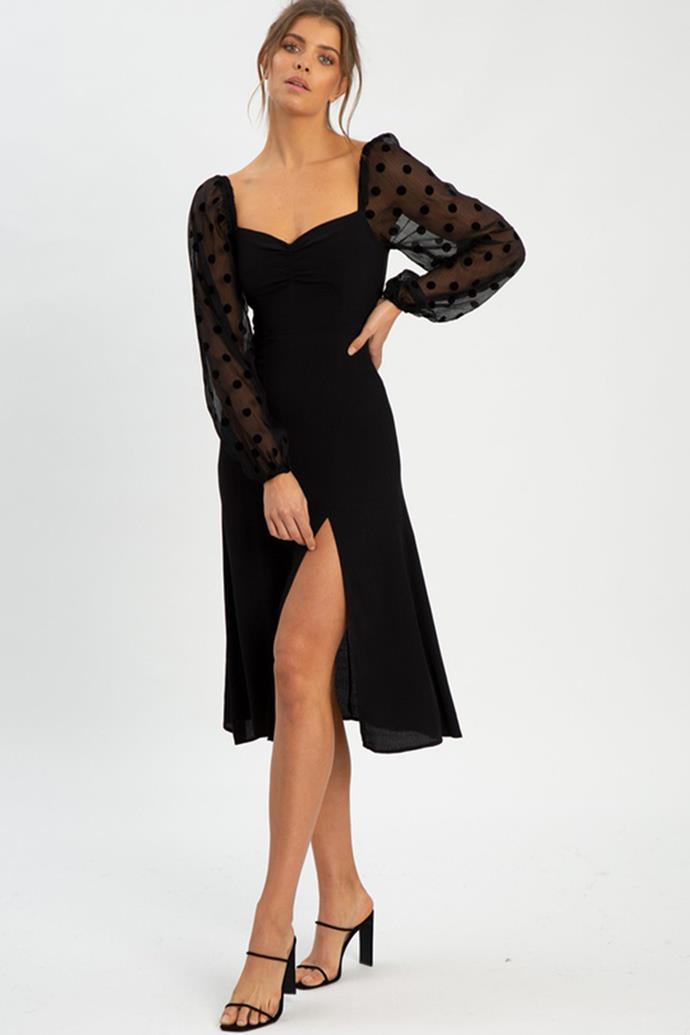 "Savel Ivanca Midi Dress $109.95 - [shop it here](https://fave.co/3jNzEAo target=""_blank"" rel=""nofollow"")."