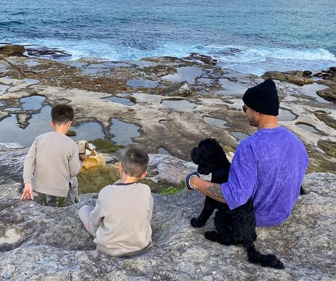 """Jules captured her husband and sons bonding by the ocean during winter. She captioned her family picture: """"School holidays 2.0 2021 come at us 👊🏻 I'm actually so excited for this time with the kids. We are off for a new adventure….. Sebastian spam coming your way x."""""""