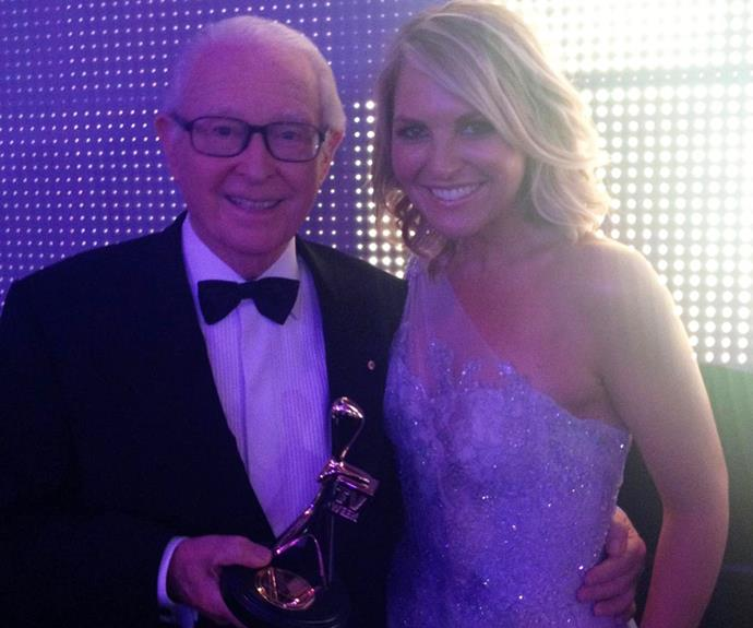 """**Georgie Gardner** <br><br> """"The end of an era in so many ways,"""" wrote the 9News presenter alongside this sweet photo. """"Not just was Brian Henderson a sublime newsreader, but he was curious, witty, interesting, caring and for me, a guiding light who generously offered me encouragement and confidence to 'tell' the news.  <br><br> """"Being in studio (as weather presenter) for his final @9newssydney 6pm bulletin back in 2002 was a privilege I treasure. Vale Hendo & my endless thanks. Love & condolences to Mardie and family xx"""""""