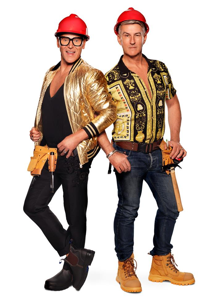 """**Mitch, 58, and Mark, 59**   ***Granddads from Sydney, NSW***   *Block* veterans from 2020 and with 20 renovations under their belts, Mitch (above left) and Mark are organised, committed and out to have some fun.  <br><br> """"There's no part of it I'm not looking forward to,"""" Mitch says."""