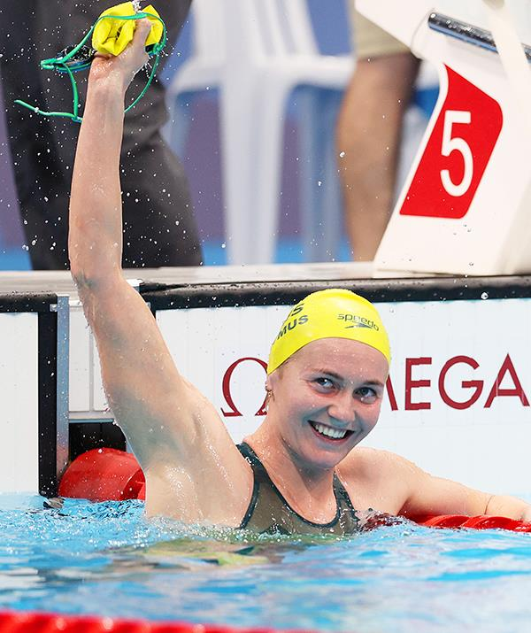 Ariarne Titmus in the moments after her 400m freestyle victory.