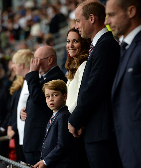 Duchess Catherine stood with Prince William and Prince George at the Euro Championship finals.