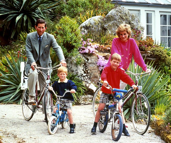 William and Harry as children, visiting the island of Tresco with their parents Prince Charles and Princess Diana.
