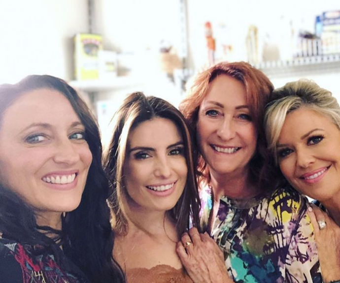 Georgie, Ada and Lynne with Emily on-set.