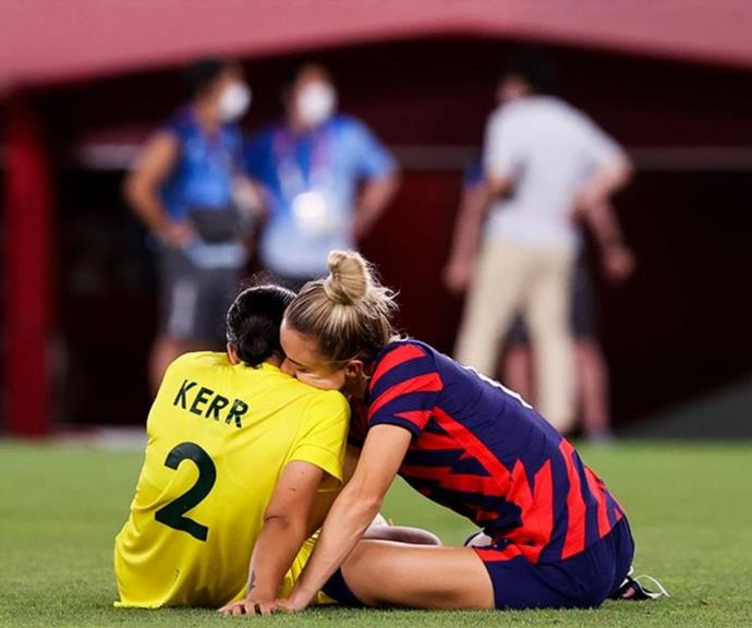 Kristie embracing Sam after their Olympic match.