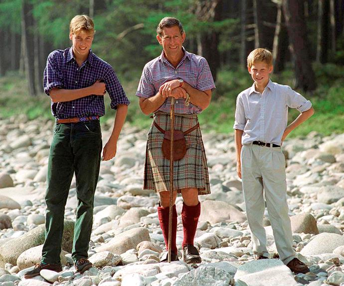 Harry and William stand either side of Charles at Poliver, by the River Dee, on the Balmoral Castle Estate. The royals used to holiday in Balmoral as a family almost every year, and this snap was taken in 1997.
