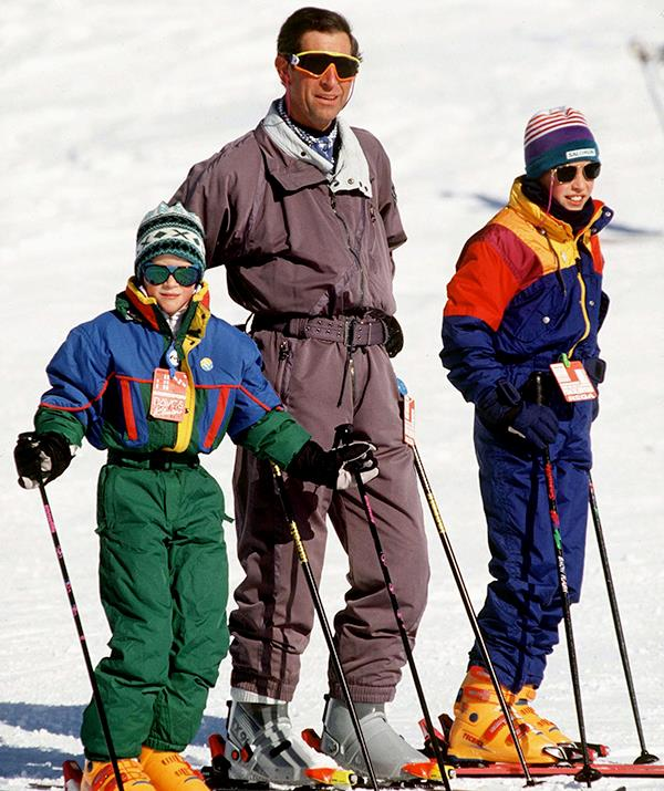 The father and sons trio were snapped in action during their 1994 Switzerland ski trip, and the young princes' outfits definitely look like something straight out of the '90s.