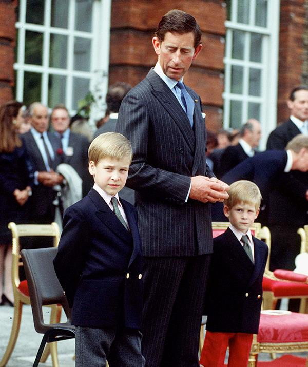 Like father, like sons! This photo from Beating The Retreat at Kensington Palace in 1989 shows Harry and William all dressed up like their dad in smart suits for the formal occasion.