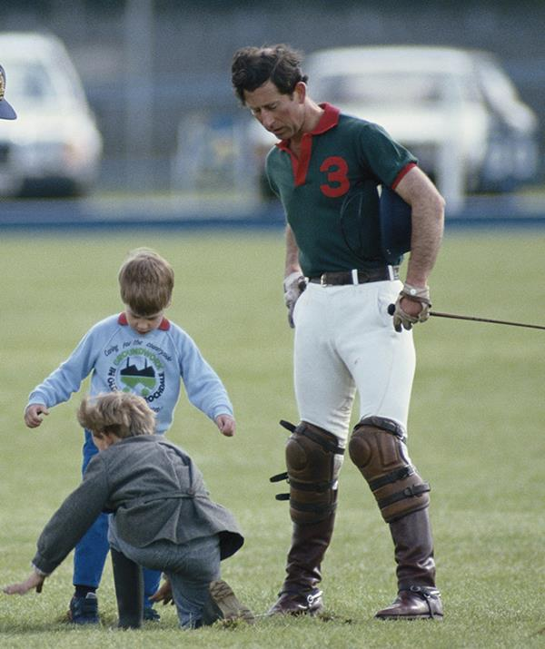 In this snap Harry and William appear to be mucking around together after Charles played in a polo match at the Guards Polo Club in Windsor, in May 1988. The brothers would have only been five and three.