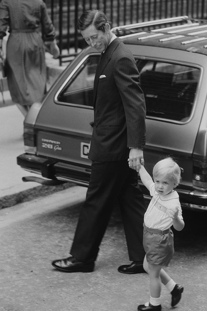 When Prince Harry was born in 1984, Prince Charles took his firstborn son Prince William along to meet his baby brother at the Lindo Wing of St Mary's Hospital, where Princess Diana had given birth. This photo was taken moments before the two princes stepped inside to meet the newest royal addition.
