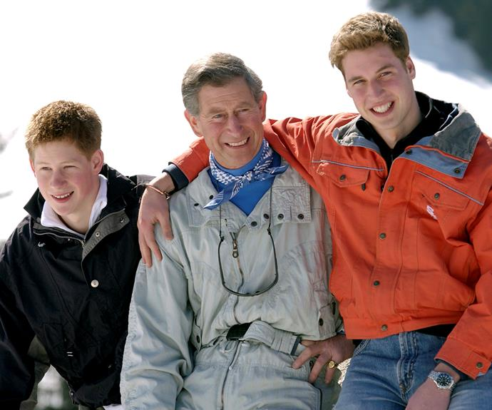 Another ski trip in Switzerland! This photo was snapped in 2002, when Harry and William were becoming more public and popular, but here they just looked like happy sons on a holiday with their dad.