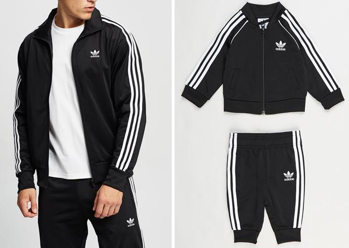 """**For the memory-maker dad:** It doesn't get much cuter than dad twinning with his mini-me and these adorable Adidas tracksuit sets come in both adult and kids' sizes - twinning for the win!  <br><br> *Adicolor Classics Firebird Track Jacket, The Iconic, $110, [shop it here](https://go.skimresources.com?id=105419X1569321&xs=1&url=https%3A%2F%2Fwww.theiconic.com.au%2Fadicolor-classics-firebird-track-jacket-1162449.html