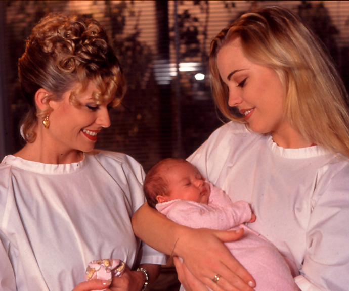 Marilyn (Emily Symons) and Angel (Melissa George) in a retro episode of *Home and Away.*