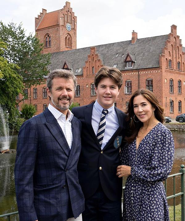 Crown Prince Frederik and Crown Princess Mary of Denmark pose with their son Prince Christian.