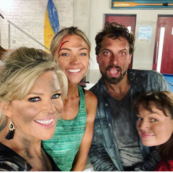 It was the explosion that shocked Summer Bay in June, but back on-set it was all-smiles from Emily Symons, Sam Frost, Jaime Robbie Reyne and Courtney Miller.