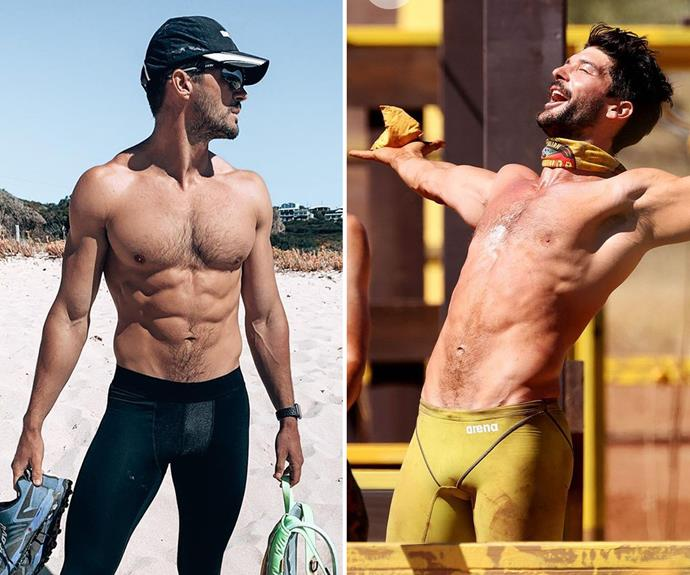 """**Emmett** <br> This """"plant based superman"""" was super fit before going on S*urvivor,* and while he's still toned, there's definitely less meat on his bones."""