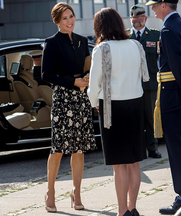 **September 2020, Denmark** <br><br> Mary kept it low-key for the official inauguration of the Australian War Monument on September 17, 2020 in Copenhagen, Denmark. Styling her hair into a sleek up-do, the future queen paired a tailored black blazer with a patterned Ralph Lauren dress and her signature nude heels.