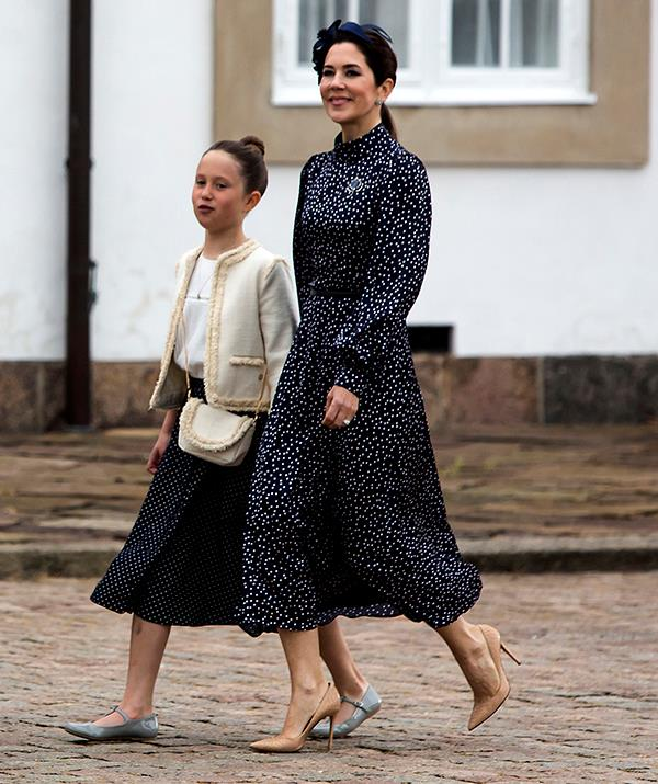 **May 2021, Denmark** <br><br> Mary went all-out for her son, Prince Christian's confirmation in May, donning a chic Iris and Ink satin polka dot dress and matching navy fascinator. She completed the look with a pair of nude, point-toe pumps, which really are her staple shoe.