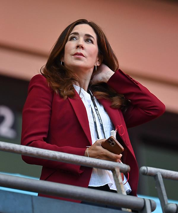 **July 2021, UK** <br><br> Mary recycled her red blazer for a soccer match at Wembley stadium in London in July, pairing it this time with a white blouse and smart black trousers.