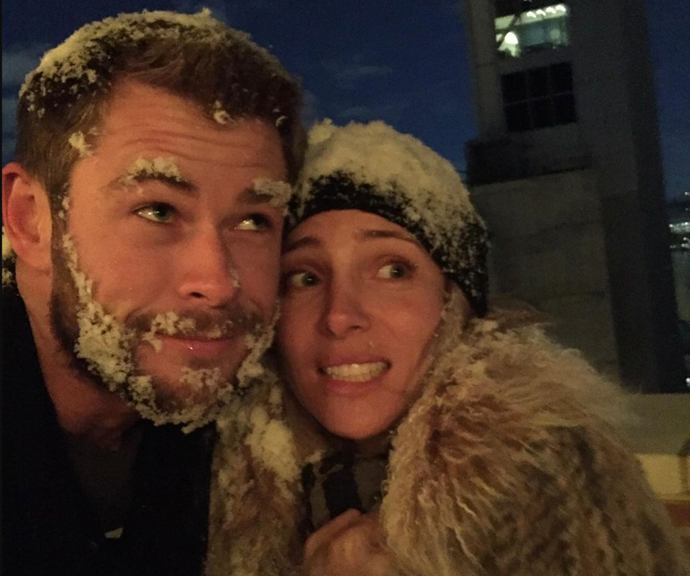 Elsa posted a snowy snap with her husband to mark his special day.
