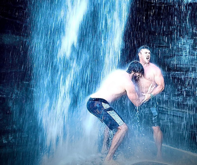 Maybe Chris is hiding in the waterfall?