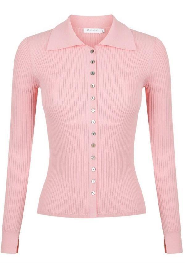 """The Long Sleeve Polo Cardi Knit by St. Cloud Label can be shopped online [here](https://stcloudlabel.com/collections/tops/products/long-sleeve-polo-cardi-knit-pink-lemonade target=""""_blank"""") for an easy top that can be dressed up and down."""