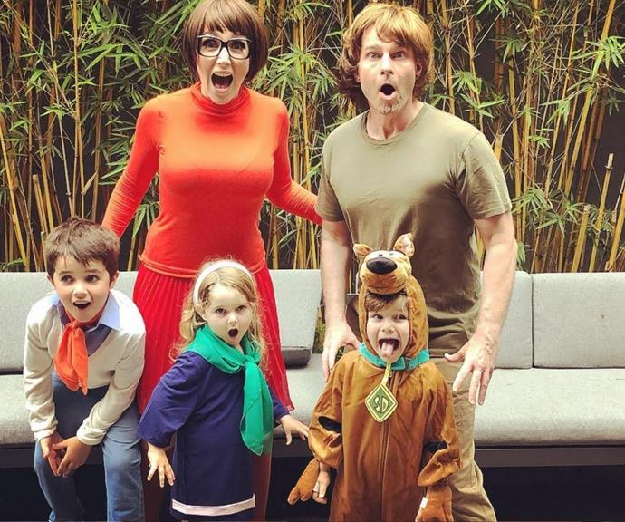 Whoa - the whole Scooby gang is here! David and Lisa show off their matching family costumes.