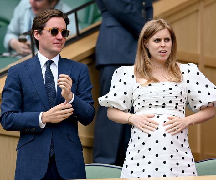 Princess Beatrice reveals her baby bump at Wimbledon.