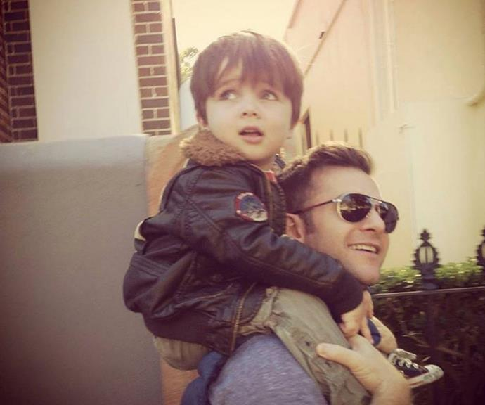 """David shared this throwback from when they were just a family of three.  <br><br> He wrote a gorgeous message to celebrate his son's milestone, """"This guy is about to turn 9 on Monday. So my #throwbackthursday is to when he would live on my shoulders. Which seemed to be over a two year period. I miss it. #leo."""""""