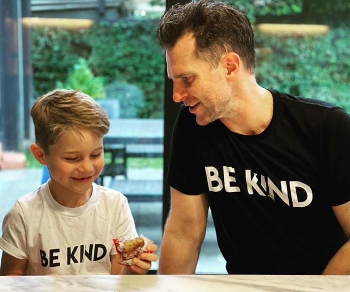 """Some father and son bonding time, with a lovely message. David captioned this post, """"Just a couple of boys. Chilling and chatting. #billy #bekind."""""""
