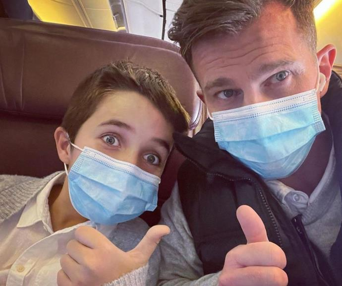 David taking a selfie and practising Covid safety with his oldest son, Leo.