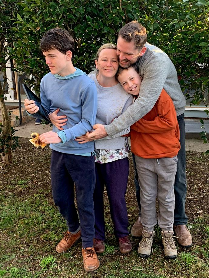 Will with his mum Penny, brother Robin and stepfather Nathan