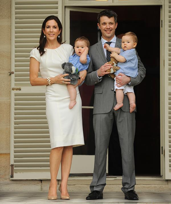 Mary and Frederik pose with the twins during their Australia visit in 2011.