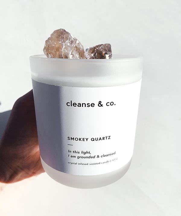 """**[Smokey Quartz candle](https://www.cleanseandco.com.au/products/smokey-quartz-crystal-candle?_pos=7&_sid=52b0363d0&_ss=r