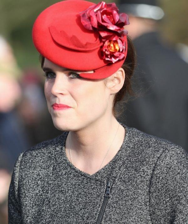 **Princess Eugenie** <br><br> Princess Eugenie ever so slightly rebelled against the rules by pairing a light coral lipstick with her red hat. It's a great colour for spring and summer because it's bright without overpowering the face.