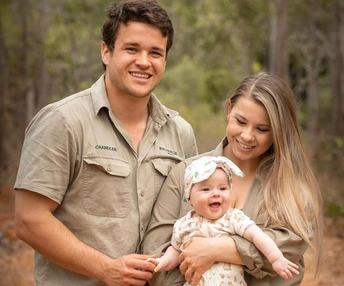 """Proud parents Bindi and Chandler Powell posed for a family snap on the reserve, Bindi writing: """"Her smile is the best part of our day."""""""
