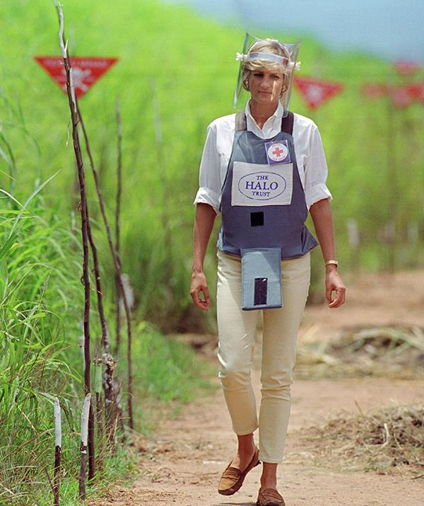 It may not have been her most upscale look, but Diana made history in 1997 when she donned protective body armour and a visor to cross a landmine minefield being cleared in Angola.