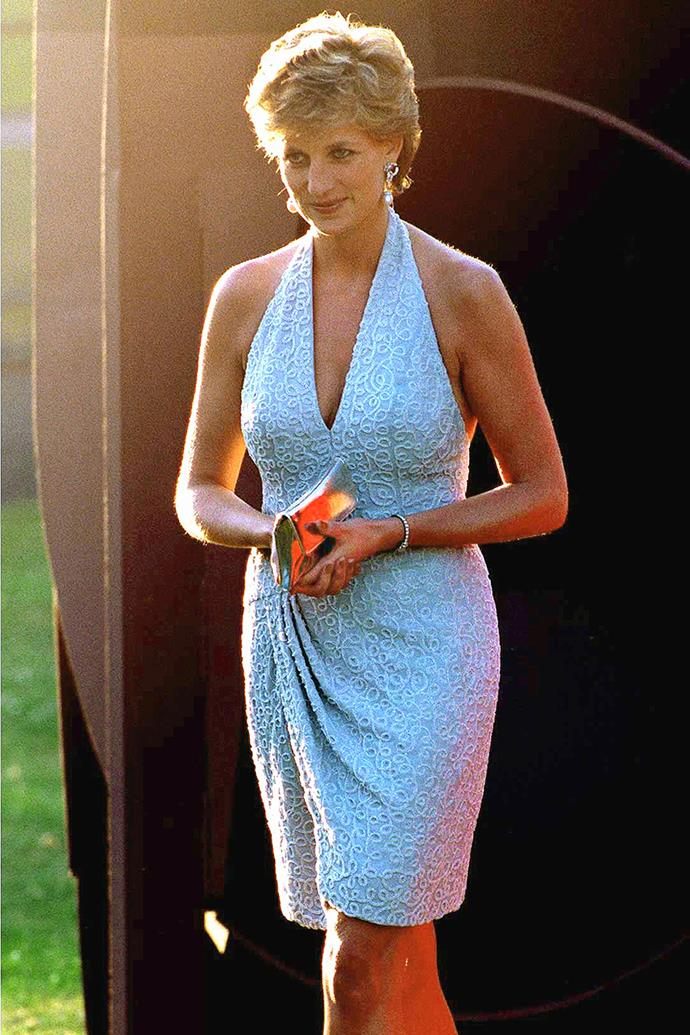 Back at another *Vanity Fair* party in 1995, Diana wowed again in this plunging cocktail dress deigned by Catherine Walker. By this time, her divorce from Prince Charles was underway and Diana was starting to don more daring styles as she moved away from royal style restrictions.
