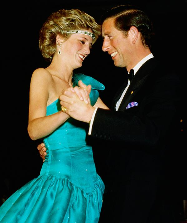 Ever the fashion forward-thinker, Diana chose to wear an heirloom royal necklace as a headband during a 1985 engagement in Melbourne, Australia. She wore the art deco emerald choker, gifted to her by the Queen, around her forehead and paired it with a teal evening gown designed by her wedding dressmakers, David and Elizabeth Emanuel.