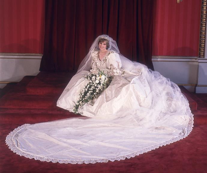 """On 29 July, 1981, Diana said """"I do"""" and became Princess of Wales wearing this incredible wedding gown, which immediately made royal bridal history. Designed by David and Elizabeth Emmanuel, it featured a 25ft-long train and puff sleeves that dominated bridal styles in the years that followed."""