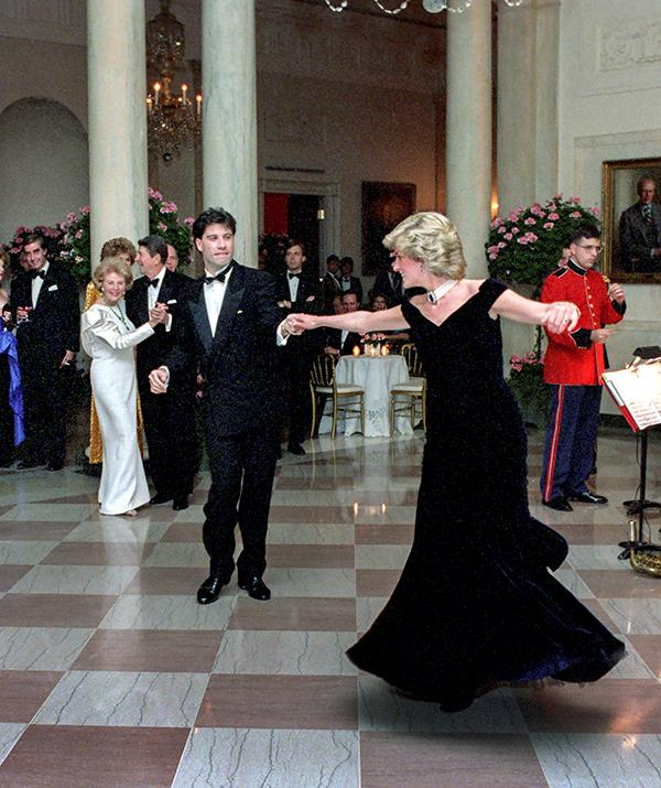 When Diana stepped out onto the dance floor in Washington with film star John Travolta in 1985, no one could take their eyes off her. The princess was dressed in a Victor Edelstein midnight blue velvet gown that went on to sell for over $497,000 at an auction in 2019.