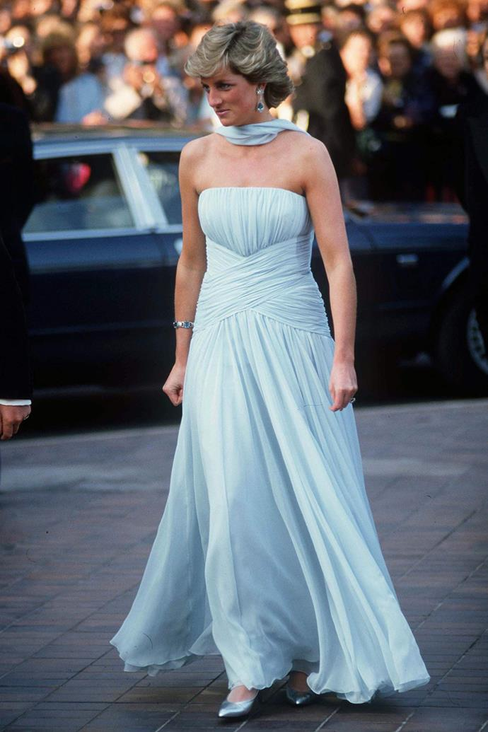 You could be forgiven for mistaking the princess for a Hollywood movie star in this chiffon ensemble she wore to the Cannes Film Fetsival in 1987. The dress and matching chiffon stole were designed by Catherine Walker.