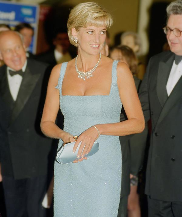 In June of 1997, less than two months before she died, Diana attended a performance of 'Swan Lake' by the English National Ballet wearing this frock by French designer, Jacques Azagury. Its short hemline and cleavage-baring neckline were a stark contrast to her early royal fashion choices and spoke of Diana's new freedom as a divorced former royal.