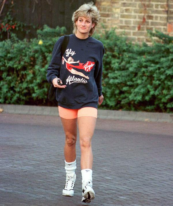 Who could forget Diana's most stylish casual combo: a sweater and bike shorts. This particular ensemble has gone down in history as one of her best, the princess pairing a Virgin Atlantic sweatshirt with orange shorts as she left Chelsea Harbour Club in London in November, 1995.