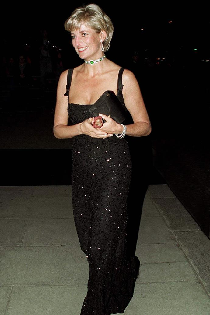 Diana went all out for her 36th Birthday on July 1, 1997 donning this incredible black gown designed by Jacques Azagury for an appearance at the Tate Gallery in London. It was one of the last formal events she would attend before her tragic death.