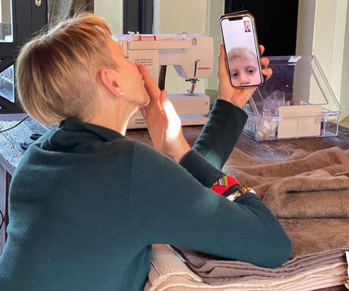 Princess Charlene in South Africa on FaceTime with her son.